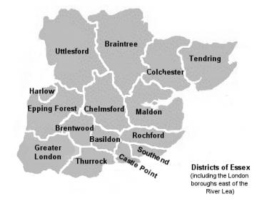 Essex local authority districts Copyright: unknown