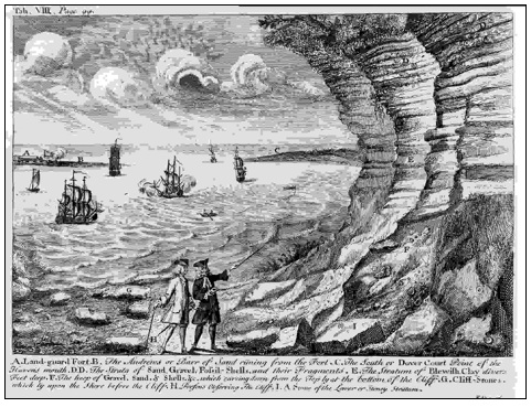 Illustration in Dale of Beacon Cliff in 1730. Copyright: Out of copyright