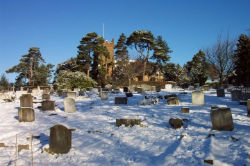 Fryerning Churchyard in the snow 2005 Copyright: Graham Smith
