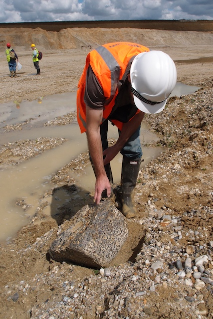 A boulder of Hertfordshire puddingstone in Bulls Lodge Quarry Copyright: Gerald Lucy