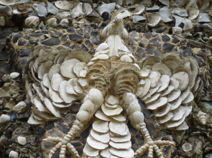 Flint fossil shells used to make a model bird on the Shell House Copyright: Simon Taylor
