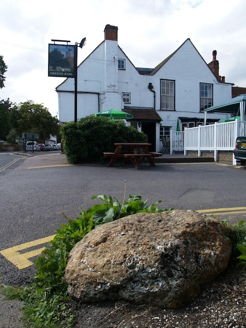 The puddingstone by the Yew Tree Inn at Manuden. Copyright: Gerald Lucy