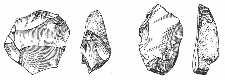 Clactonian flint tools from Clacton cliffs. Copyright: John Wymer