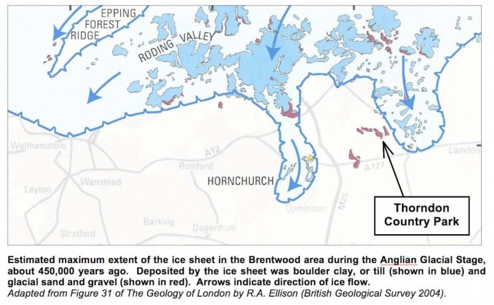 Maximum extent of the ice sheet in Brentwood district Copyright: Gerald Lucy