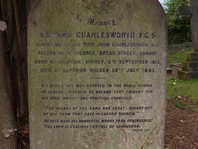 Grave of Edward Charlesworth Copyright: Gerald Lucy